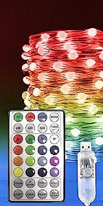 RGB Fairy Lights USB Plug in