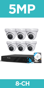 6pcs 5MP Dome IP Camera Video System poe video surveillance system wired security camera system