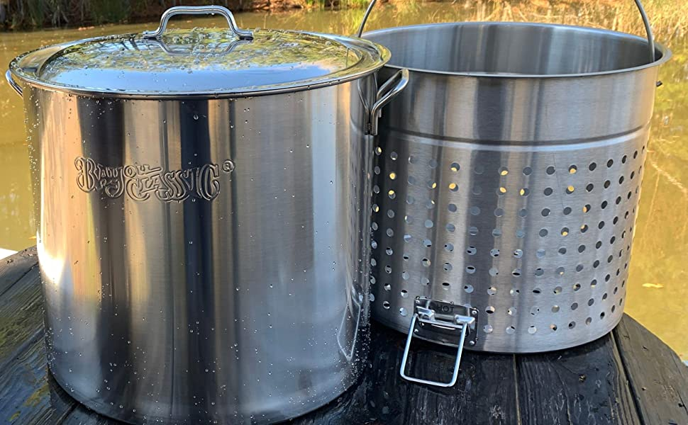 Bayou Classic 82-qt Stainless Steel Stockpot with Perforated Basket