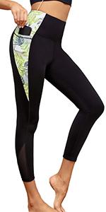 Womens Contrast Panels Workout Leggings