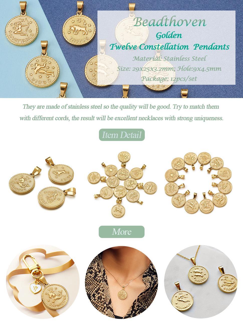 Flat Round 12 Constellation Zodiac Sign Necklace Pendants