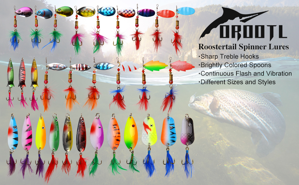 rooster tail spinner lures kit