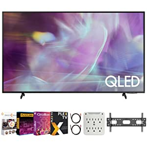 a  Samsung QN55Q60AA 55 Inch QLED 4K UHD Smart TV (2021) Bundle with Premiere Movies Streaming + 37-100 Inch TV Wall Mount + 6-Outlet Surge Adapter + 2X 6FT 4K HDMI 2.0 Cable e7276bb3 21b2 446c b8e2 c51be026dca6