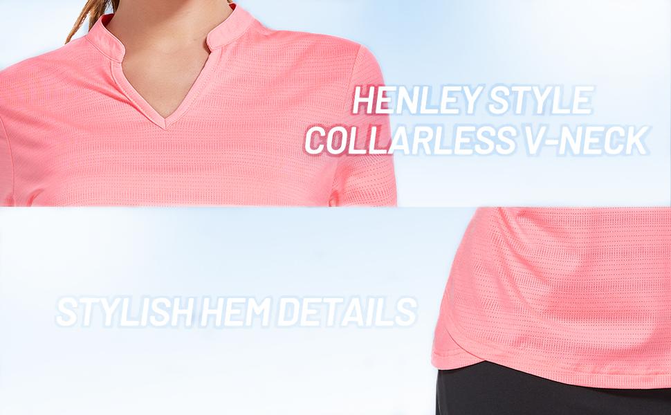 v neck vneck collarless no collar shirt for laides short sleeve summer tennis golf polo