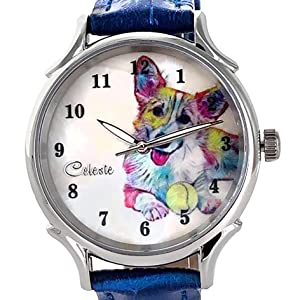 Quality materials dog art watch timepiece Westie rainbow multicolor purple blue red yellow.