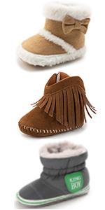 Baby Girls Cowboy Tassel Boots Side Zipper Moccasins Soft Bottom Non-Slip shoes