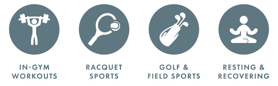 Suitable for in gym workouts, racquet sports, golf and field sports, resting and recovery.