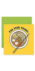 Food Pun Fun Birthday Card Pho Noodles Asian Funny Greeting Card