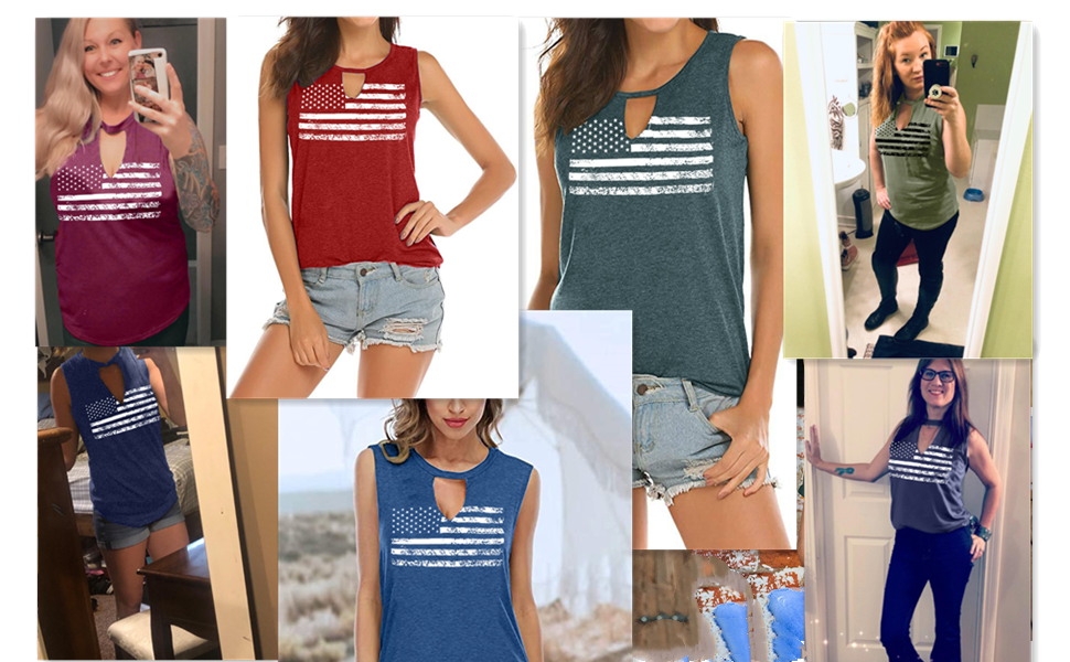 Women's 4Th of July Tank Tops Stars Striped Flag Tanks Independence Day Top Shirt
