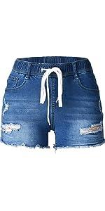 drawstring elastic waist distressing ripped cut off curved frayed hem skinny slim short jeans
