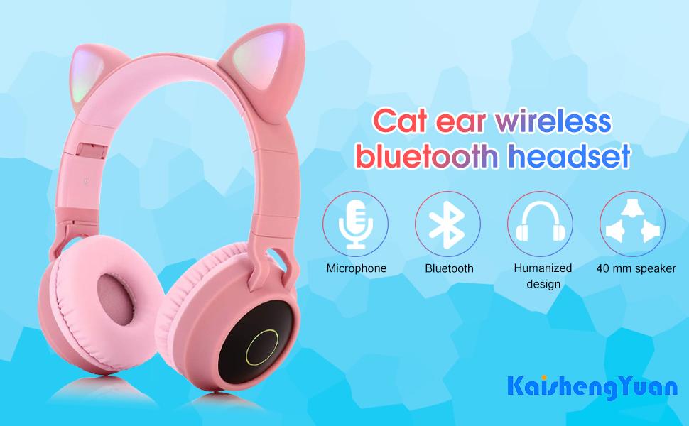 cat ear wireless bluetooth headset