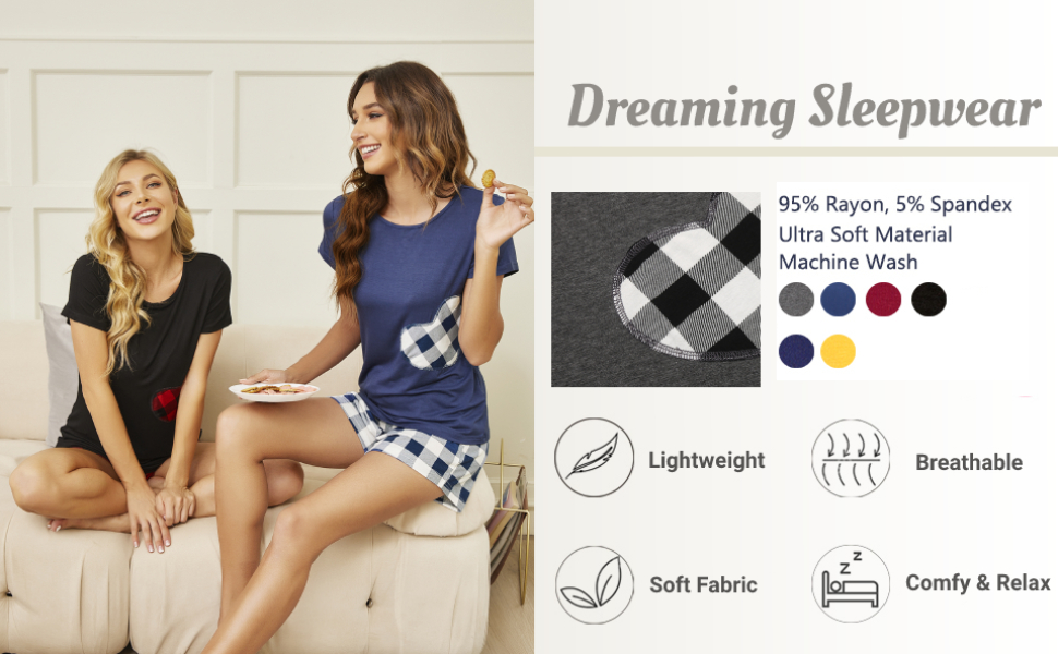 soft sleepwear cute plaid pajama set