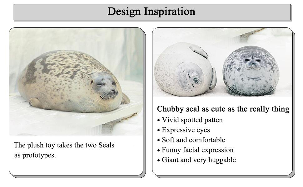 Chubby Blob Seal Plush Pillow Stuffed Cotton Plushies Animal Toy Cute Ocean Pillow