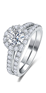 Sterling Silver Zircon Inlaid Round Ring