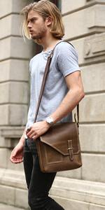 mens crossbody brown leather shoulder messenger bag handbag small man purse vintage genuine leather