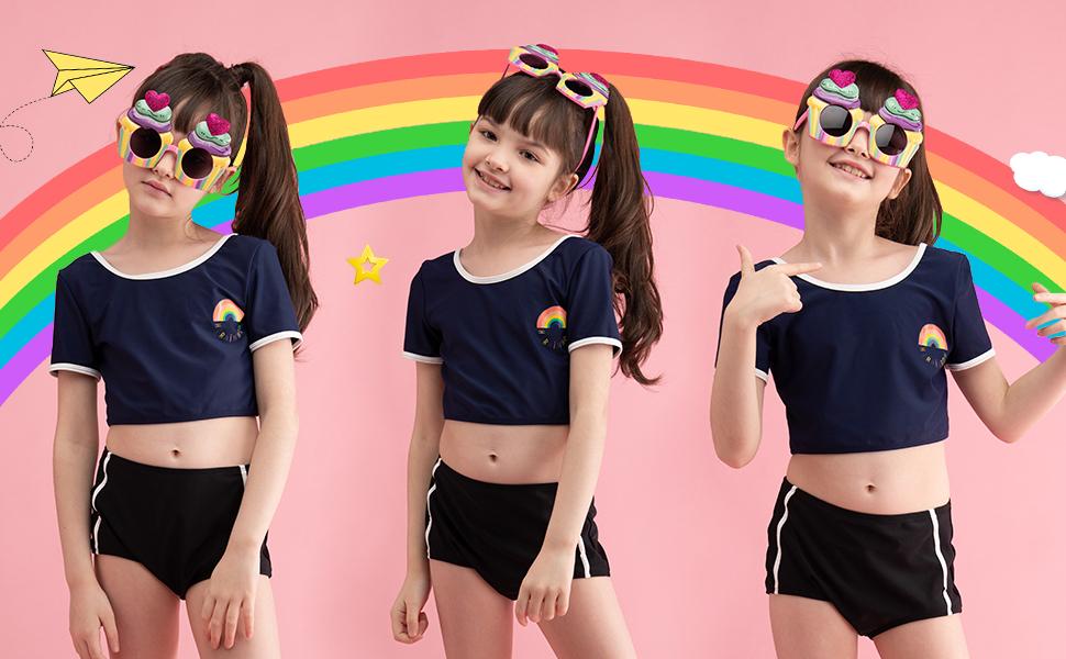 Girls Tankini Sets Navy Bikinis Cute Rainbow Pattern Swimsuit 2 Piece Swimwear Sun Protection Suit