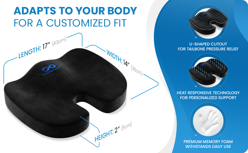 Ergonomically designed chair cushion adapts to your body for a customized fit