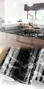 Gloss Black Gray Marble Granite Vinyl