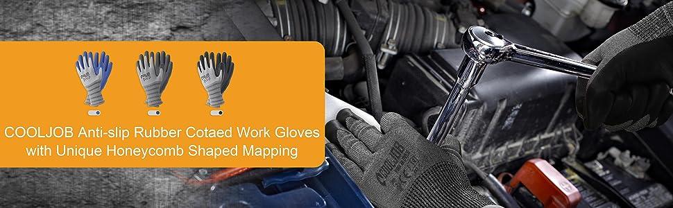 anti-slip rubber coated work gloves