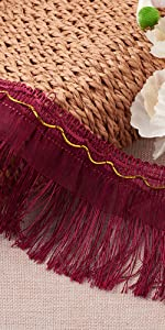 Fringe Trim Lace 3.9 Inch Polyester Trimming Tassel Ribbon red for lothes Stage Costume Accessories