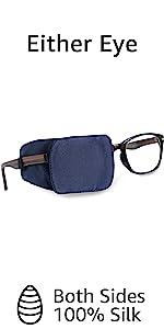 silk eye patch for glasses kids boys navy blue