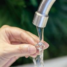 Simply rinse off your ring with water