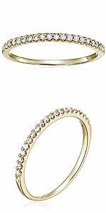 Vir Jewel 1/10 cttw Mircopave Petite Diamond Wedding Band 10K Yellow Gold Round
