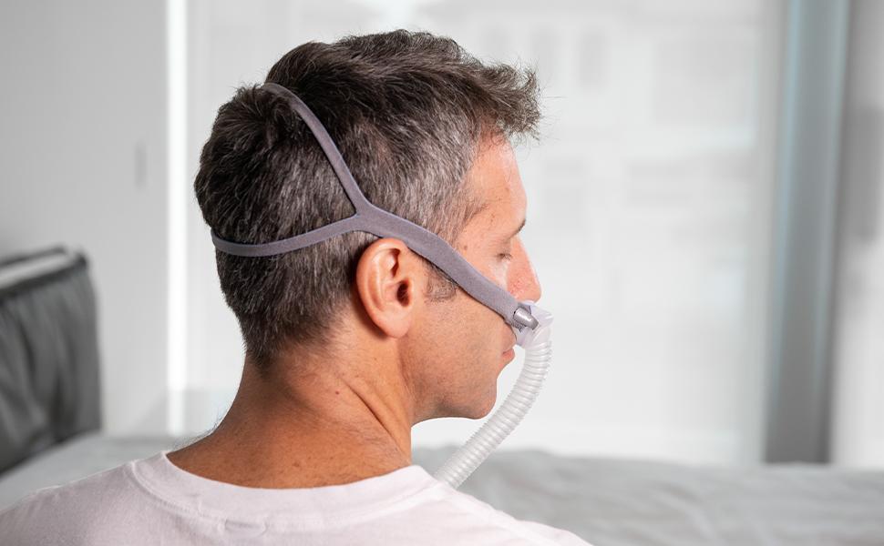 Man wearing grey P10 Headgear.