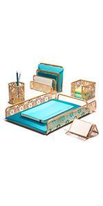 Antique Gold Desk organizer Set