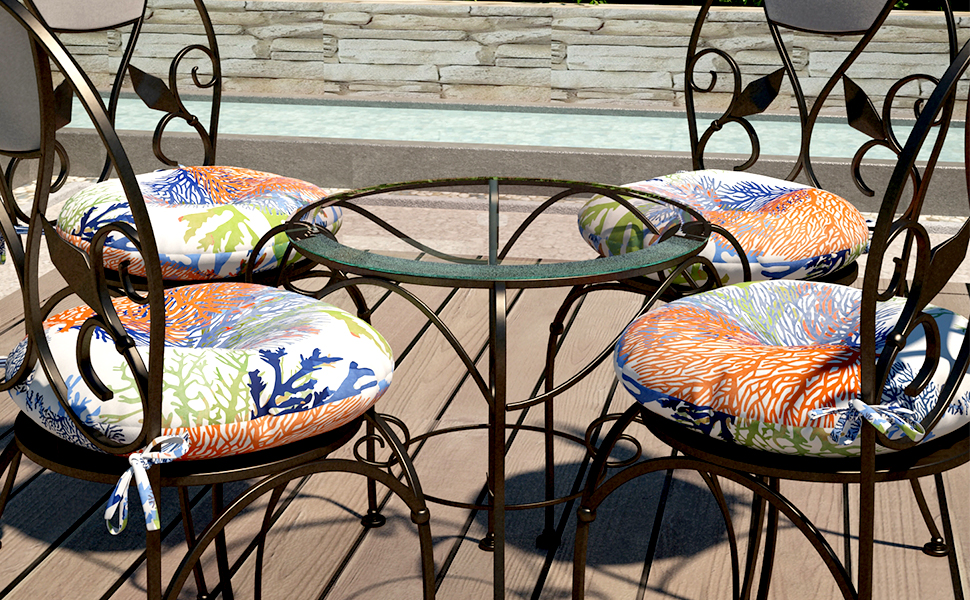 seat cushions for kitchen chairs round bistro chair cushion patio chair pads 2 pack navy grey blue