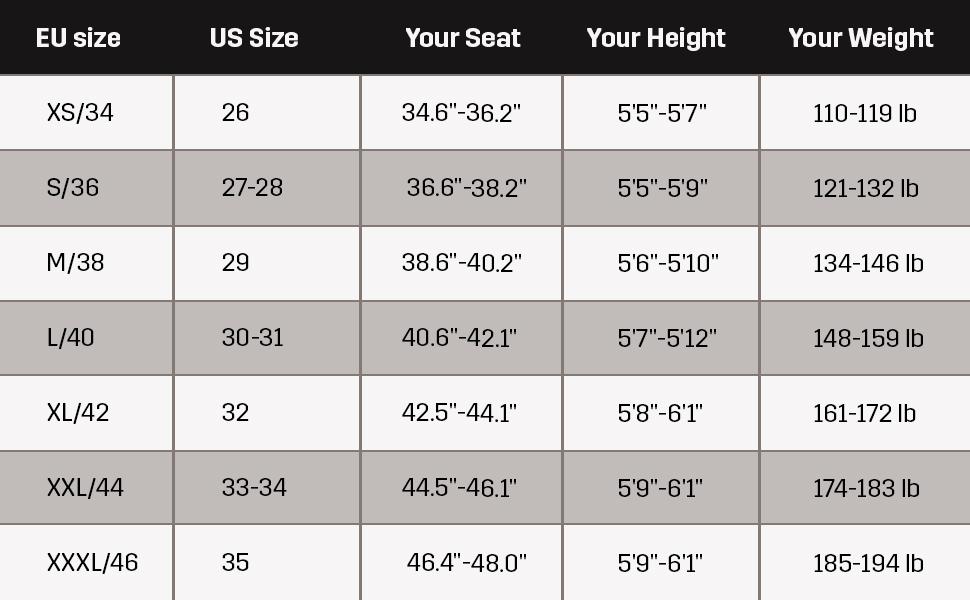 Women's pants size guide