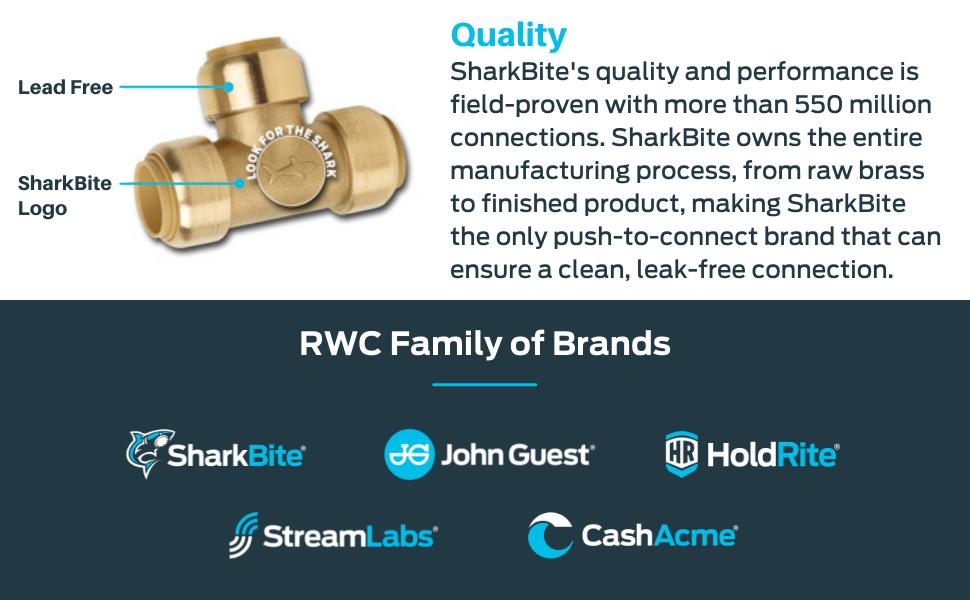 RWC SharkBite John Guest HoldRite Stream Labs Cash Acme Plumbing Parts Solutions Brass