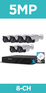 8pcs PoE Home Security System