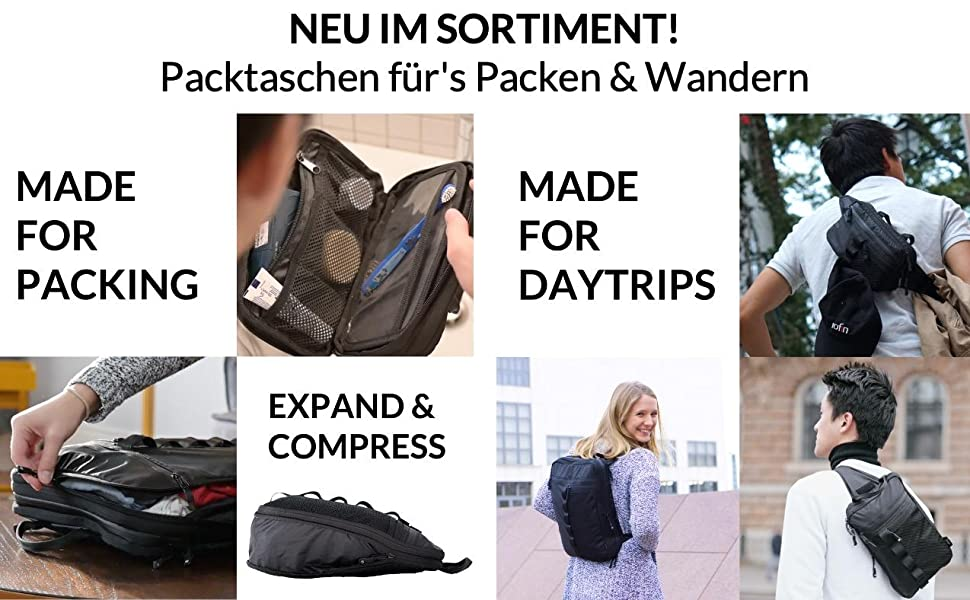 Packing bags hiking packing with compression made of recycled plastic
