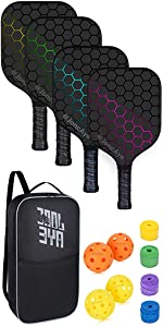 Pickleball Rackets Set of 4 with Outdoor Indoor Pickleballs Pickleball Bag and Hand Grip Tapes