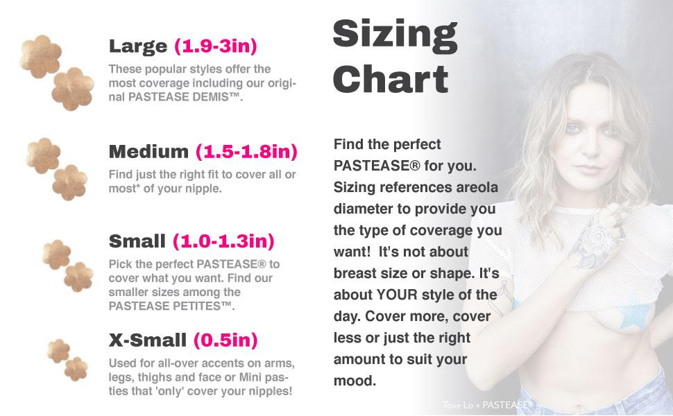 Sizing Chart and Tove Lo in Pastease