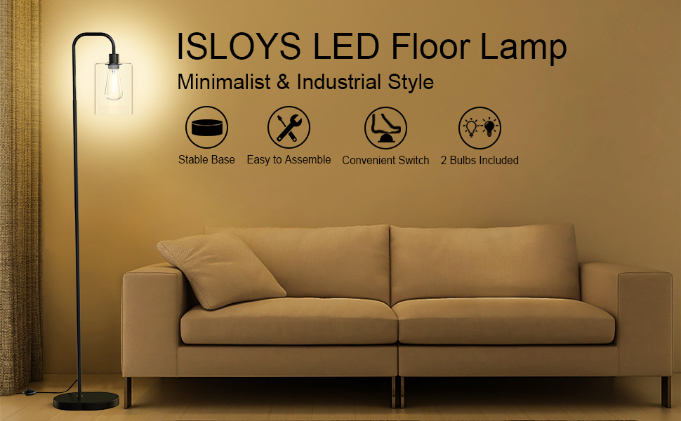 ISLOYS LED floor lamp withe 2 LED bulbs