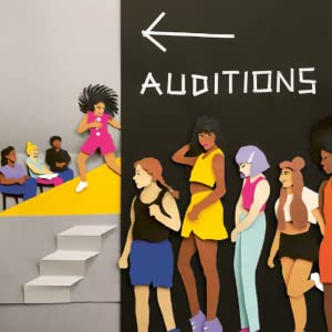 People standing in line for auditions next to a stage where a person is performing for judges.