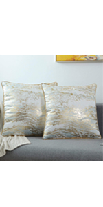 WHITE GOLD THROW PILLOW COVERS