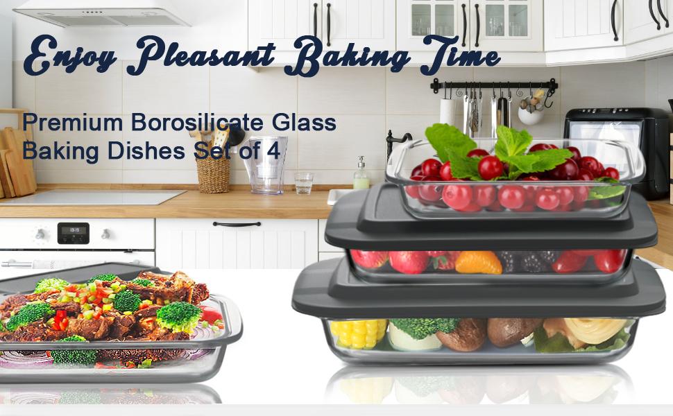 Premium Borosilicate Glass Baking Dishes Set of 4