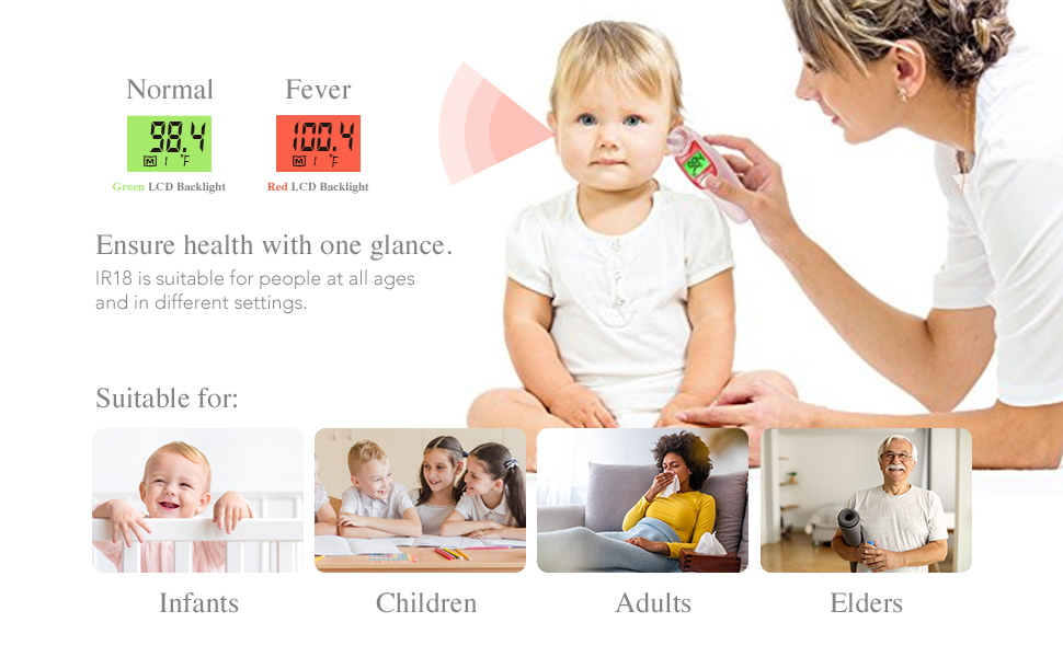 FORA IR18 is suitable for people at all ages and in different settings
