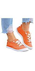 Canvas Slip On Shoes Women Sneakers Lace Up Loafers Lightweight Running Shoes