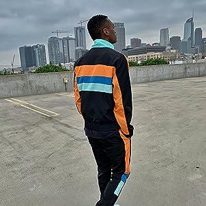 color block wind breaker track suit