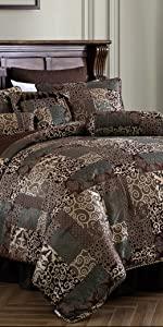 Amelia 9-Piece Patchwork Jacquard Comforter, Brown/Teal