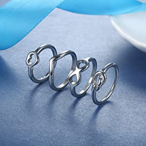 Wave Ring for Women Stackable Cute Love Eternity Thumb Band Rings Set