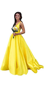 Satin Wedding for Bride 2021 Prom Dresses with Pockets