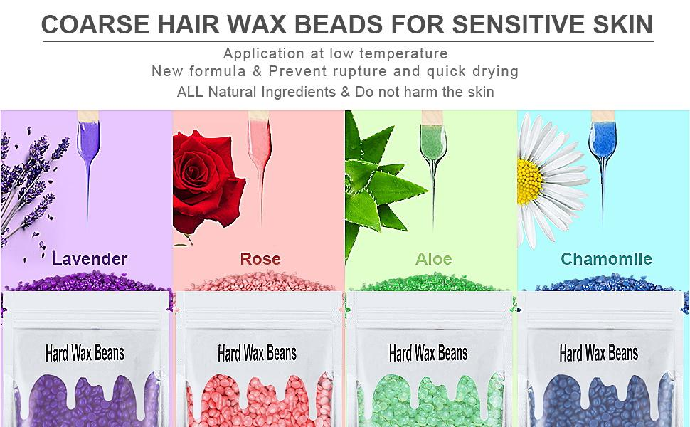 4 Formula Coarse Hair Wax Beans,CHAMOMILE ,LAVENDER,ROSE ,ALOE,  Prevent Rupture And Quick Drying
