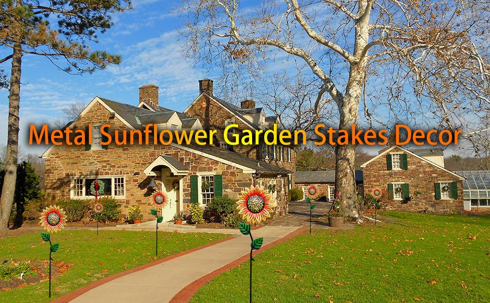 Garden Stakes Decorative Metal Flowers Outdoor
