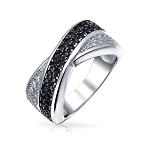 Two Tone Black And White Pave CZ Criss-Cross X Band Ring 925 Sterling Silver