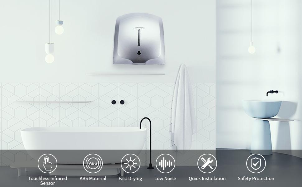 Secador de Manos automático de Acero Inoxidable eléctrico Comercial hogar Montado En La Pared Blanco